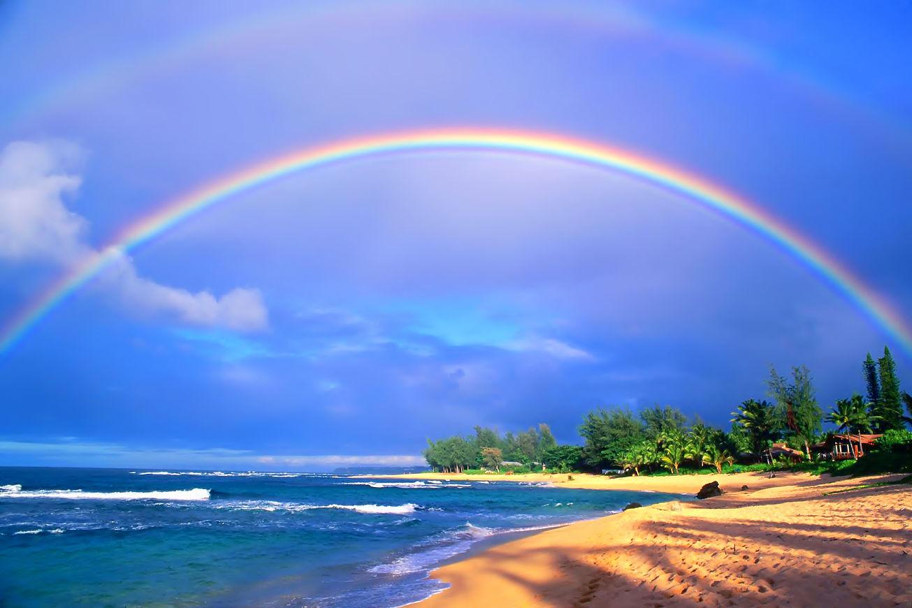海と島と虹